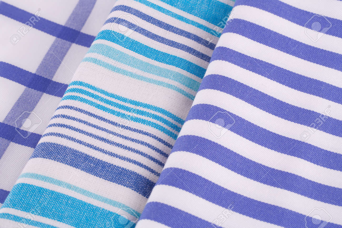 Blue And White Kitchen Towels Closeup Picture. Stock Photo   94727670