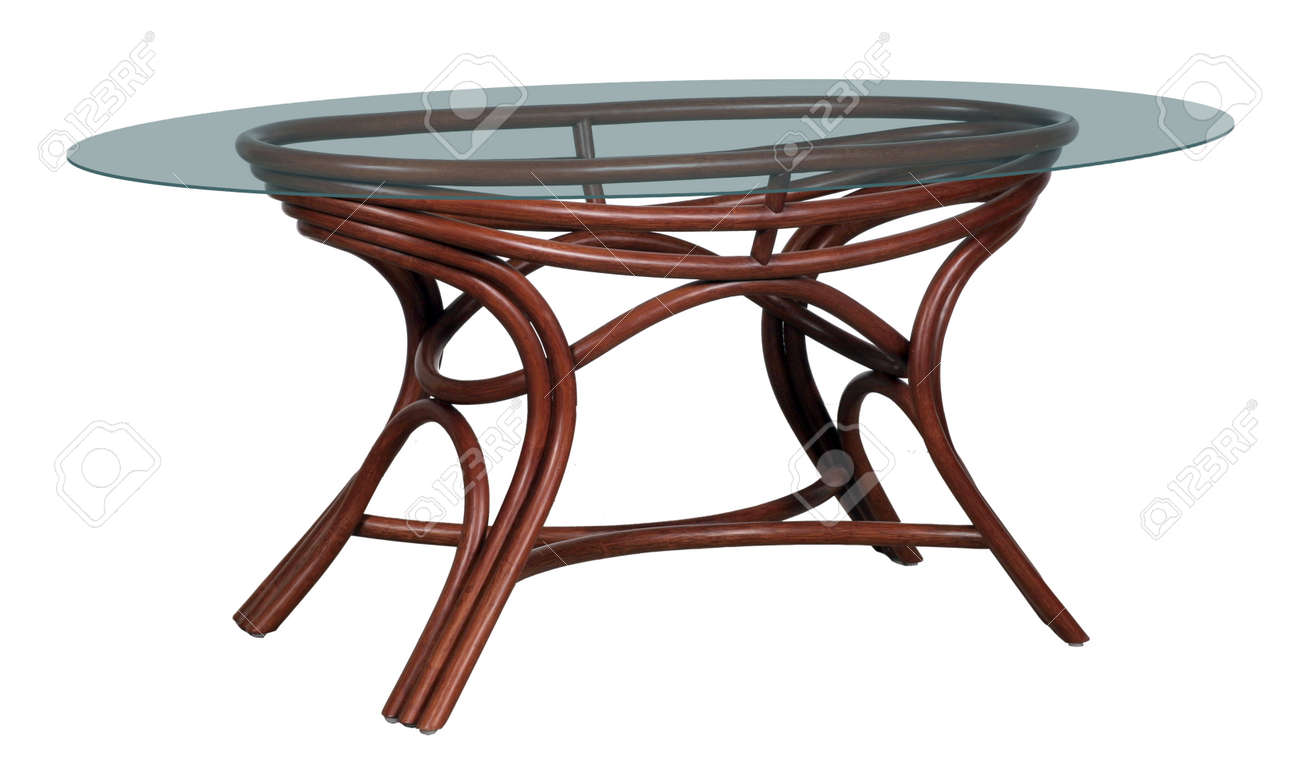 Rattan Round Table With A Glass Table Top On A White Background Stock Photo