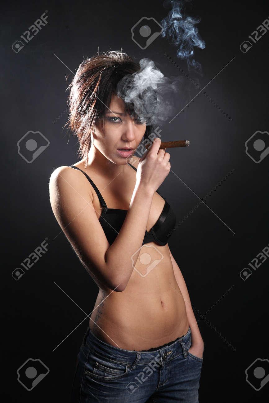 ebony woman in lingerie fingers