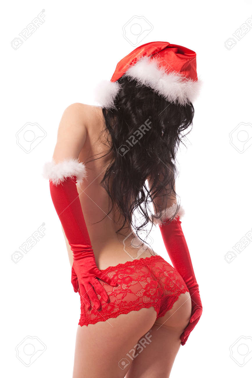 013bb0dbb02 Sexy santa helper. Red panties, hat and gloves. White background...
