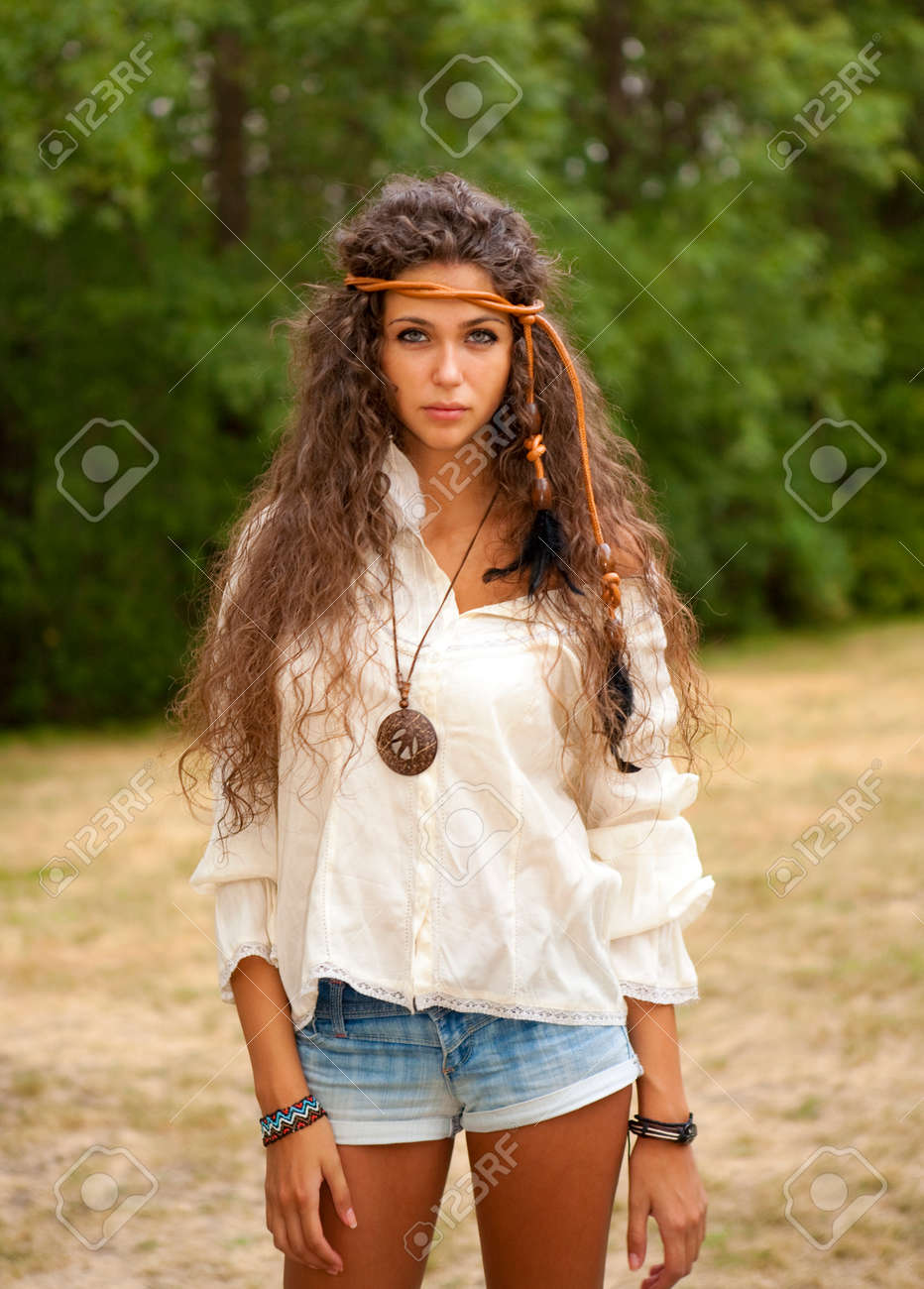 Beautiful hippie girl with ropein hair in the park. Outdoor portrait. Stock  Photo - 89e0b4505dd5