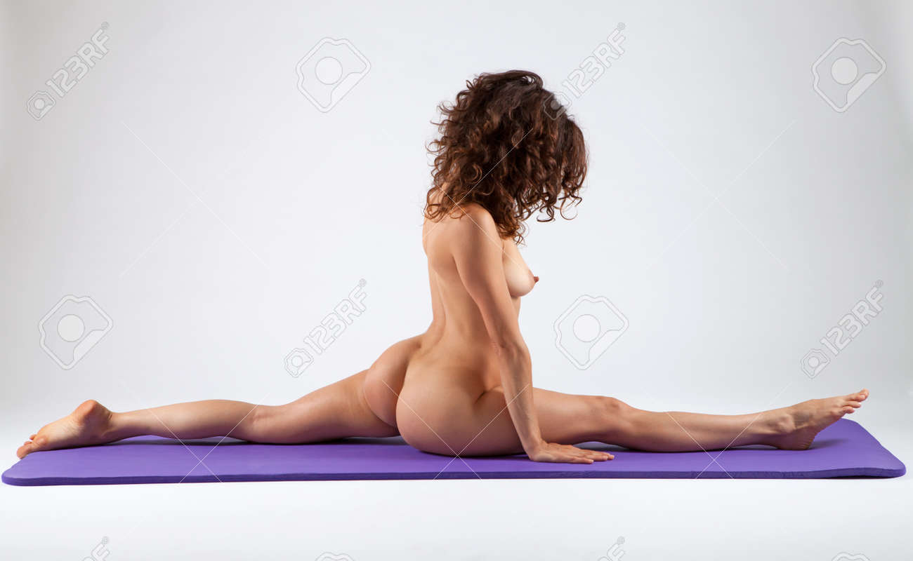 Naked women doing yoga