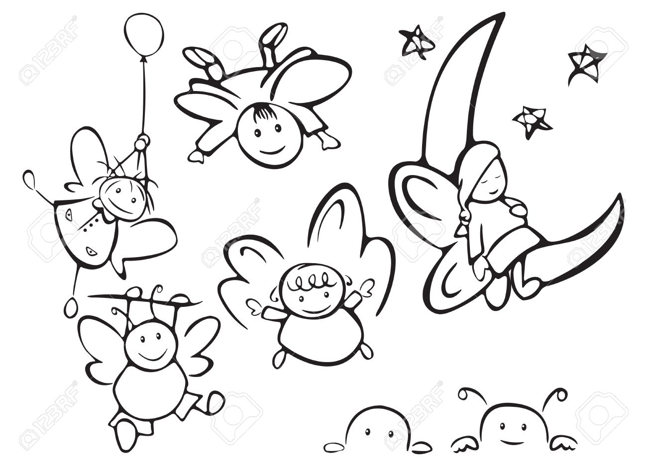 set of cute angels for design royalty free cliparts vectors and