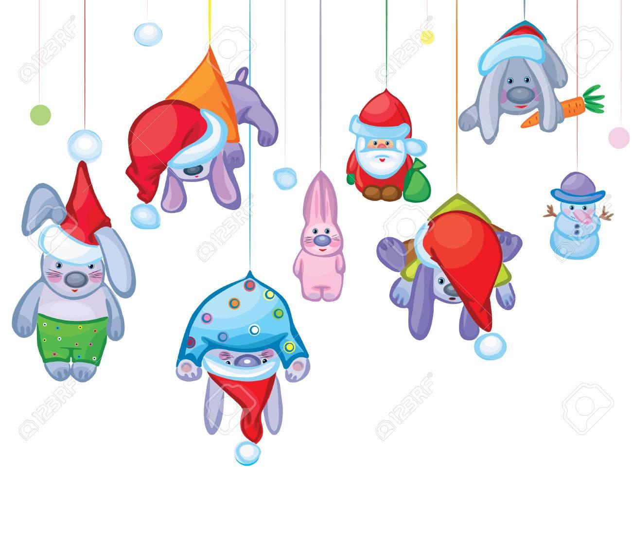 Tarjeta de Navidad de conejos de Lindos se bloquea, Santa y muñeco de nieve  Foto de archivo - 7612920
