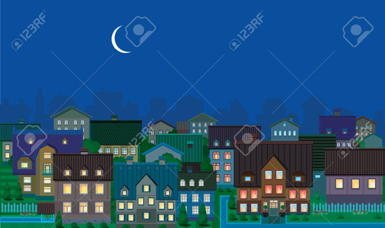 Townhouses, night. Stock Vector - 8879249