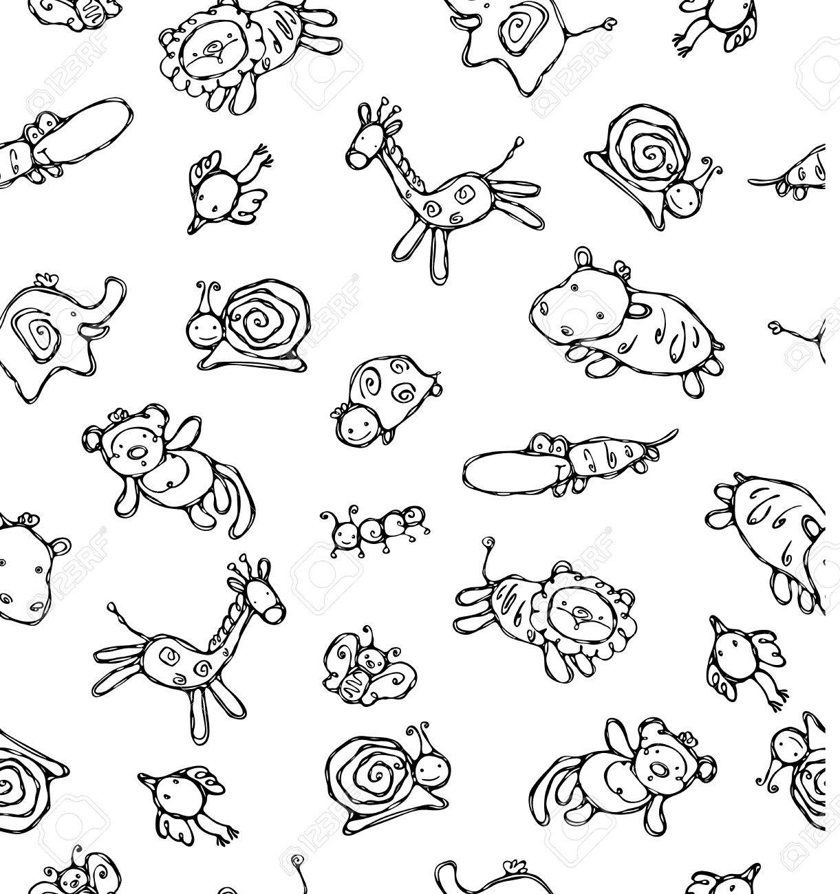 Seamless pattern of cute animals. Stock Vector - 9323874