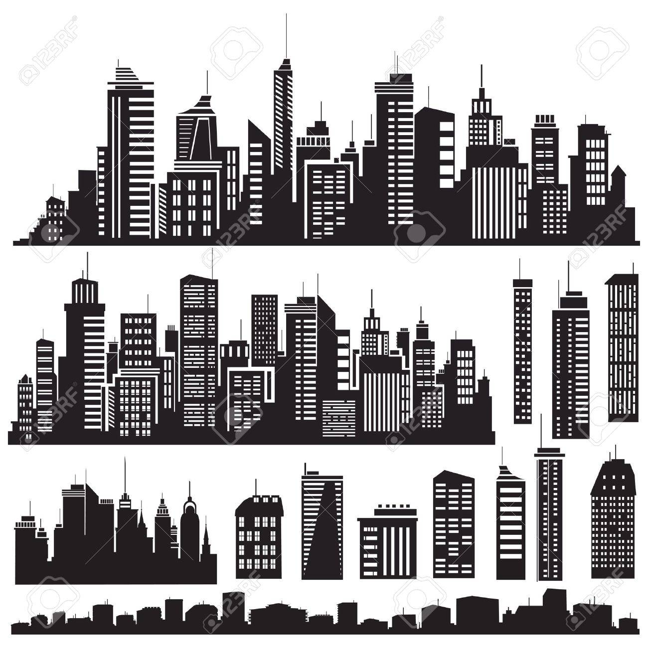 Set of vector cities silhouette and elements for design. Stock Vector - 9490495