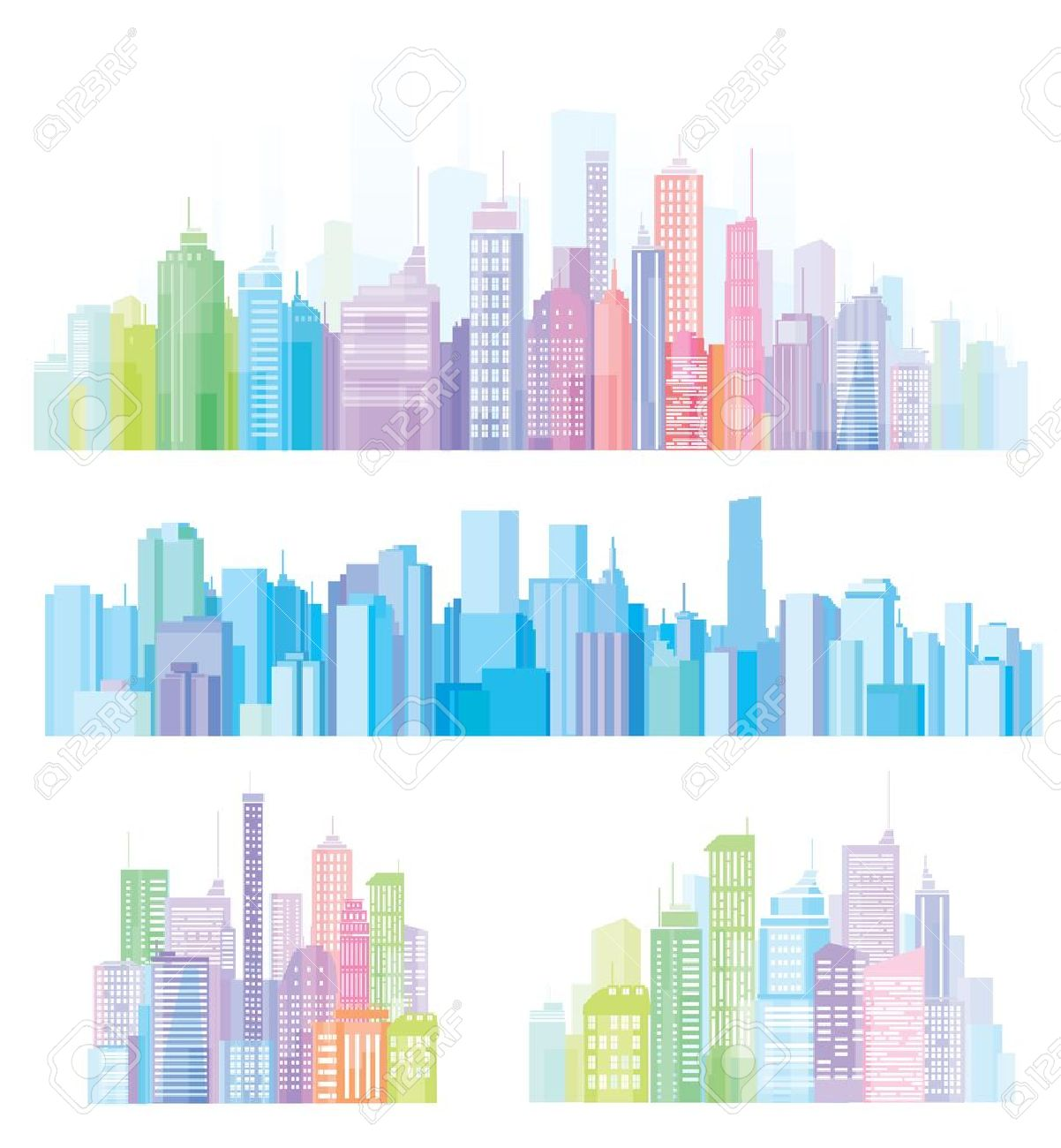 Colorful panorama of cities. Stock Vector - 9846096