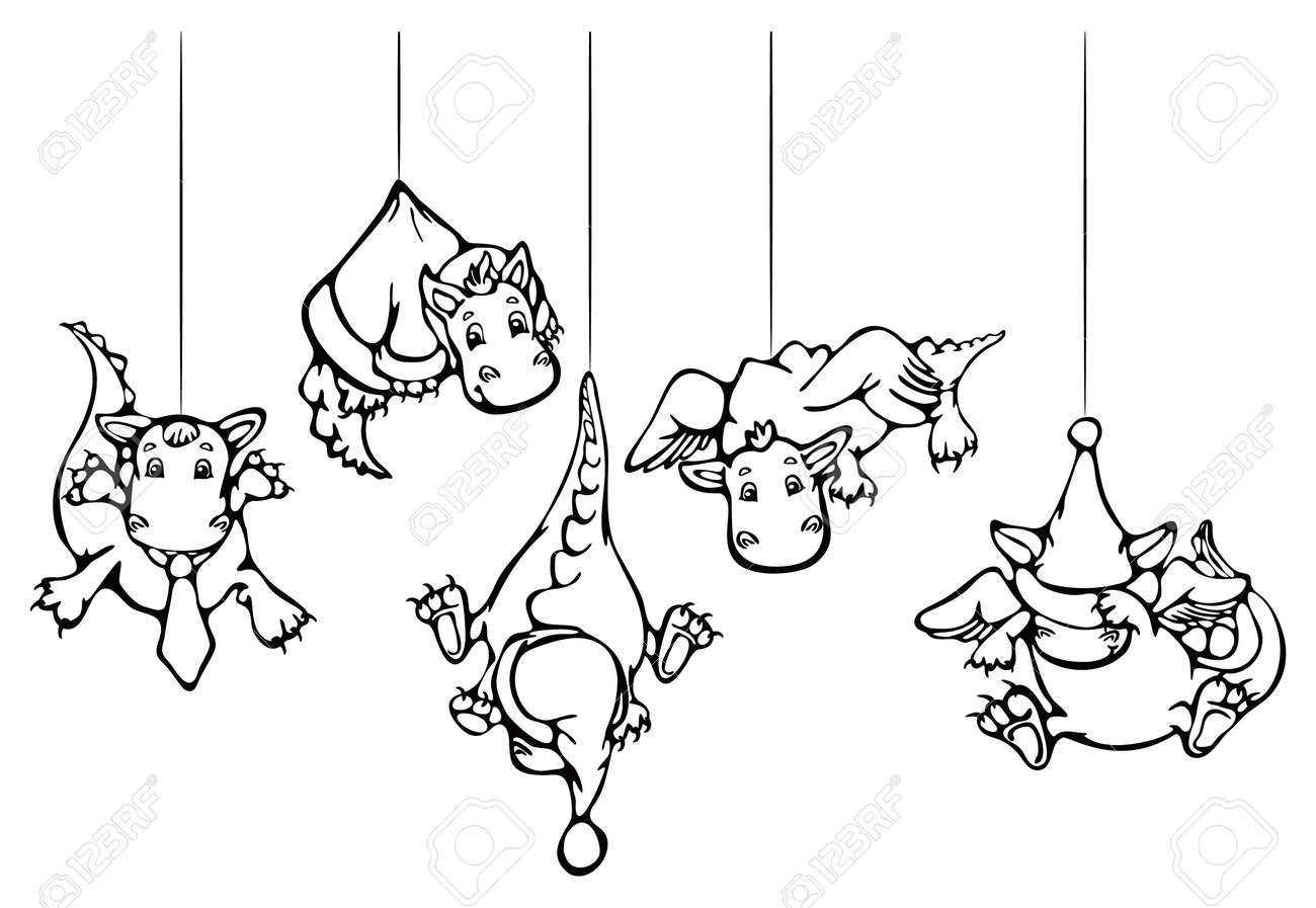 Cute dragons hang , for Christmas design. Stock Vector - 10849685
