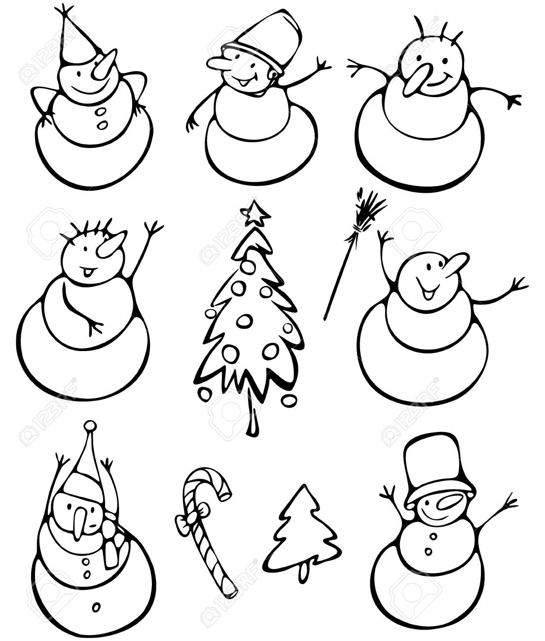 Fun snowmen and elements for design Stock Vector - 15773848