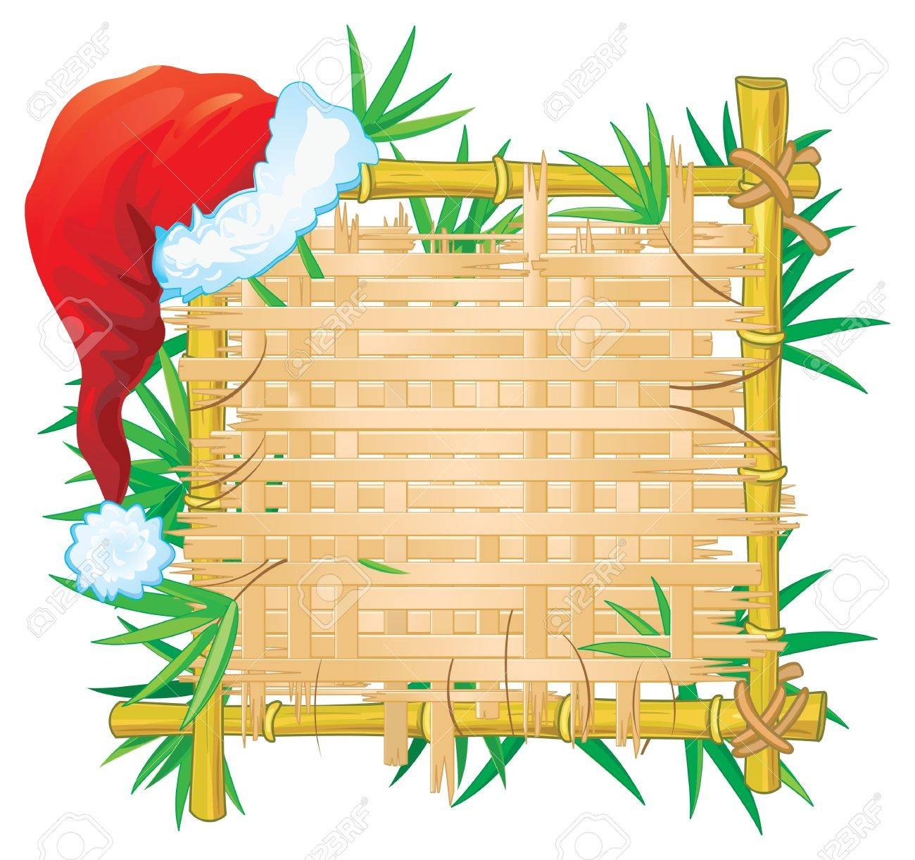 Bamboo frame with hat. Stock Vector - 10510481