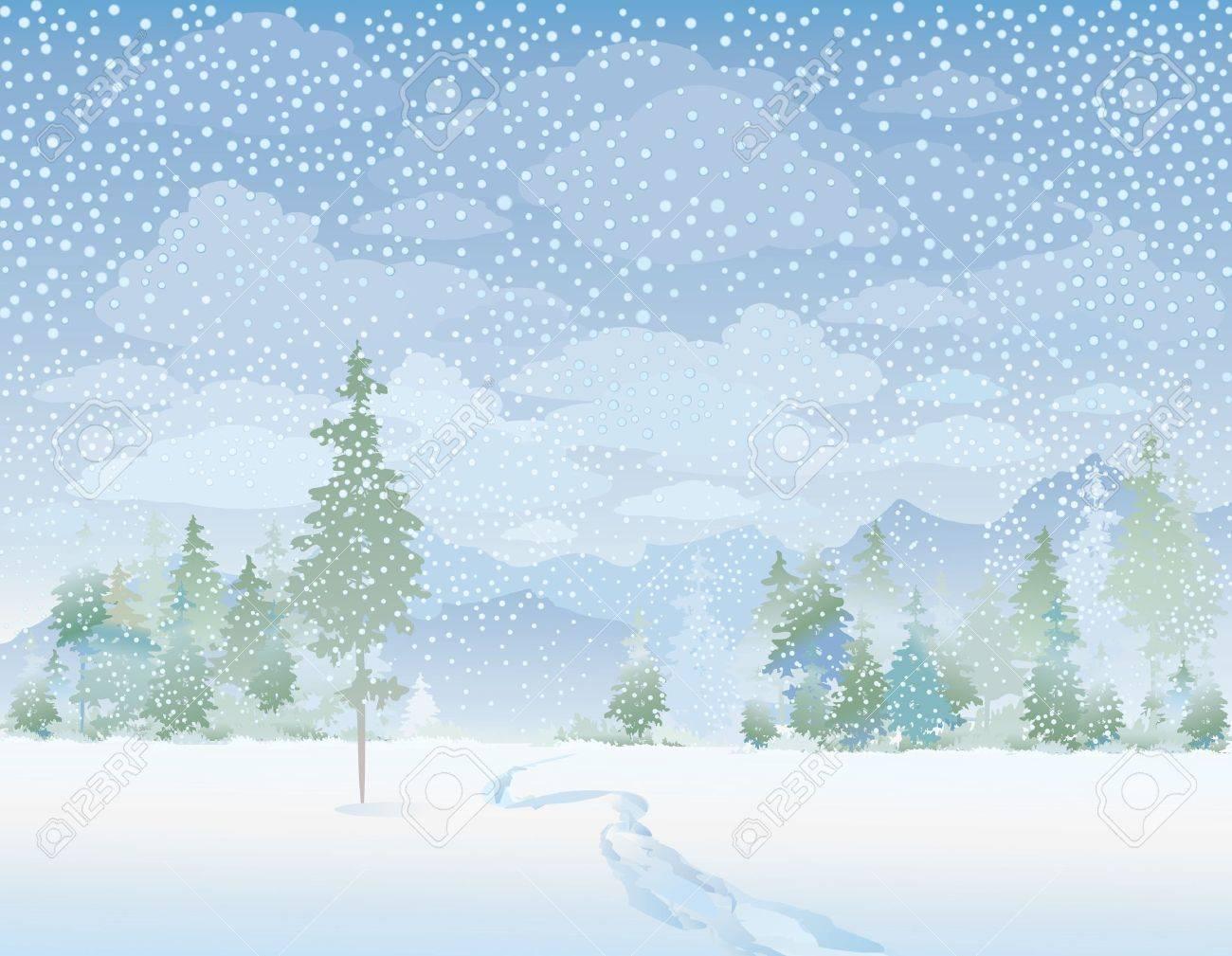 Winter landscape Stock Vector - 10977786