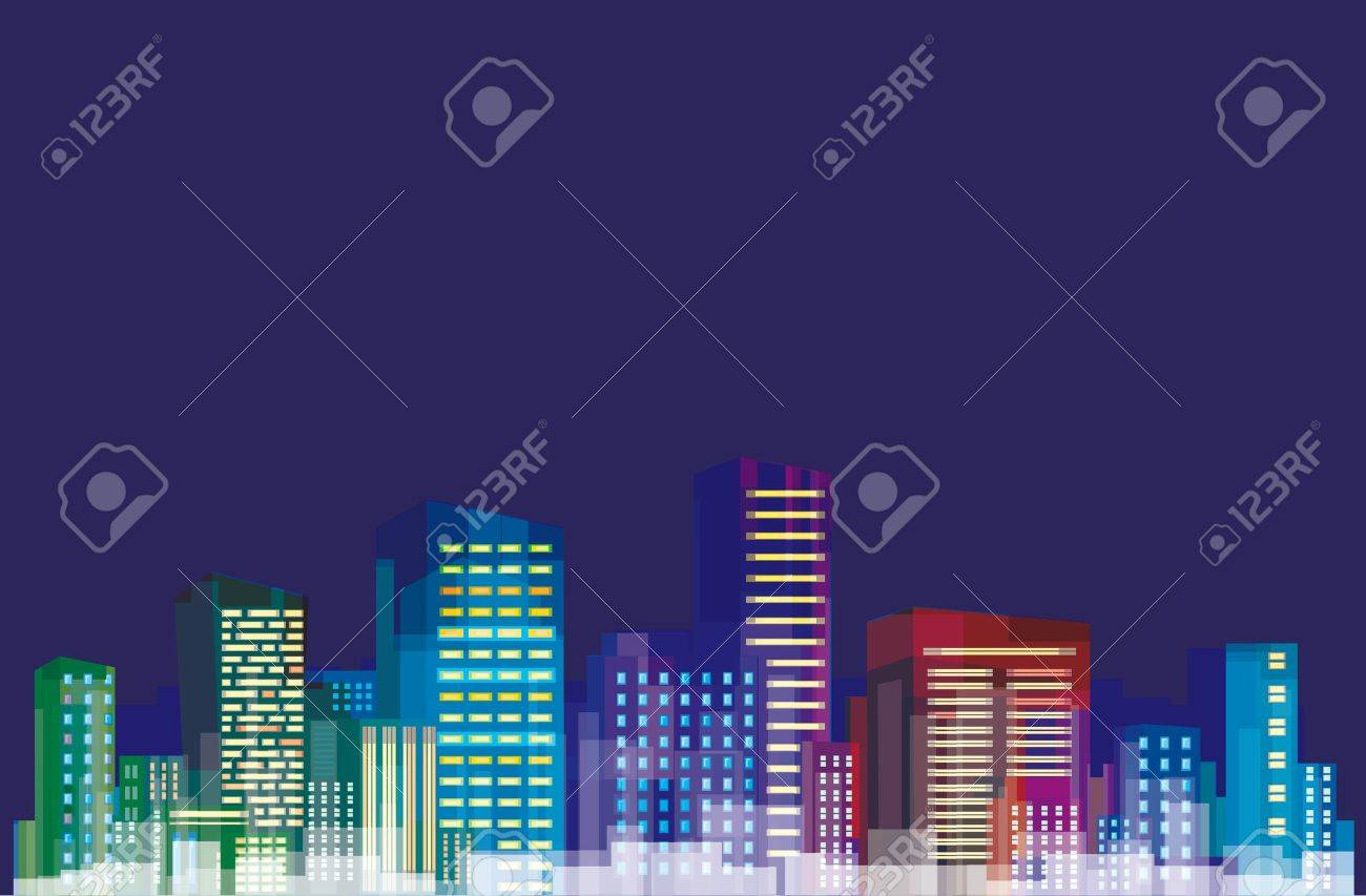 Colorful panorama of city. Stock Vector - 11041704