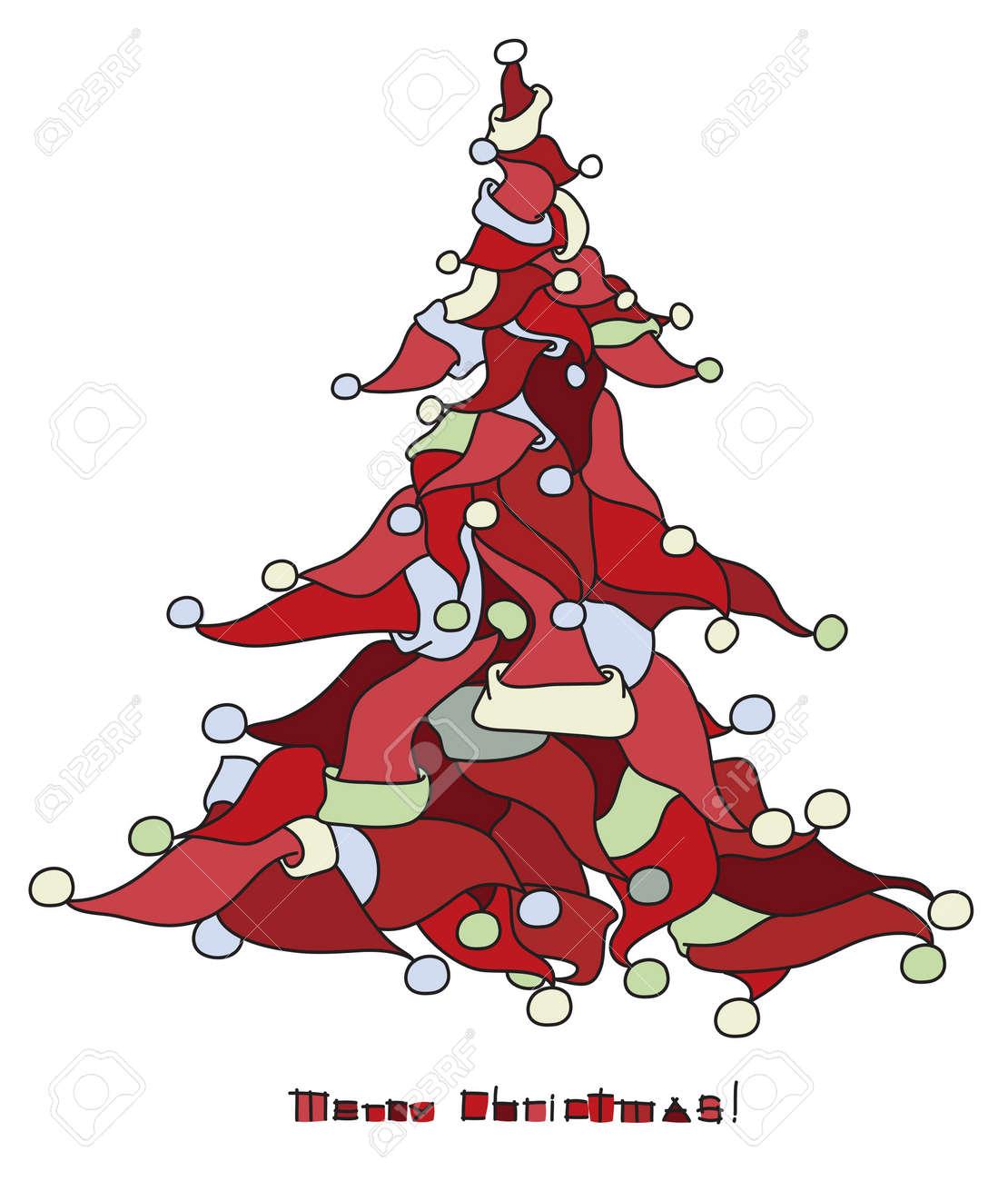 Christmas tree shape made from Santa s hats Stock Vector - 15597374