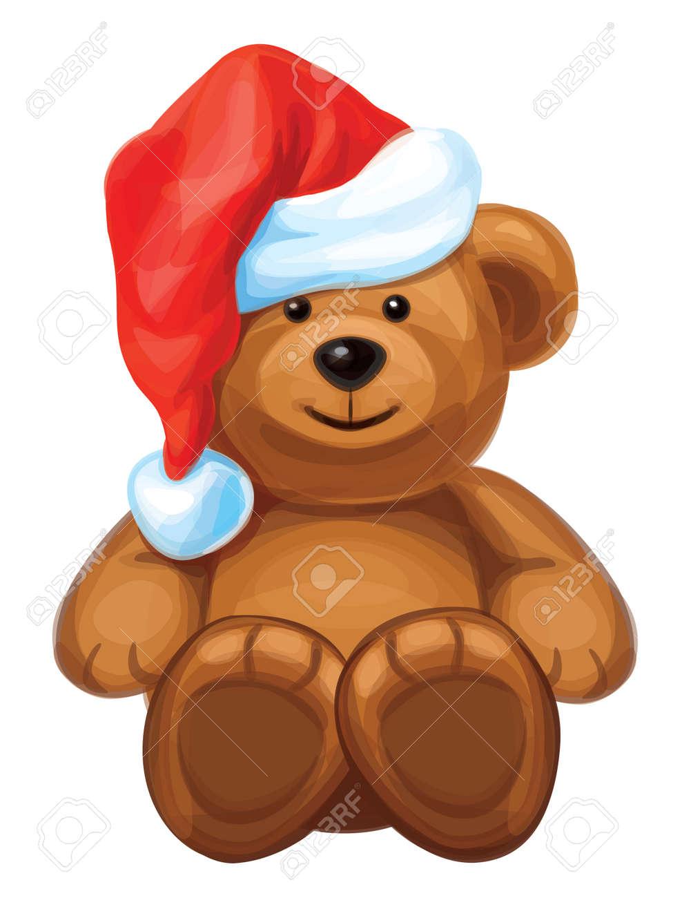 fun brown bear in red Santa s hat Stock Vector - 15773993