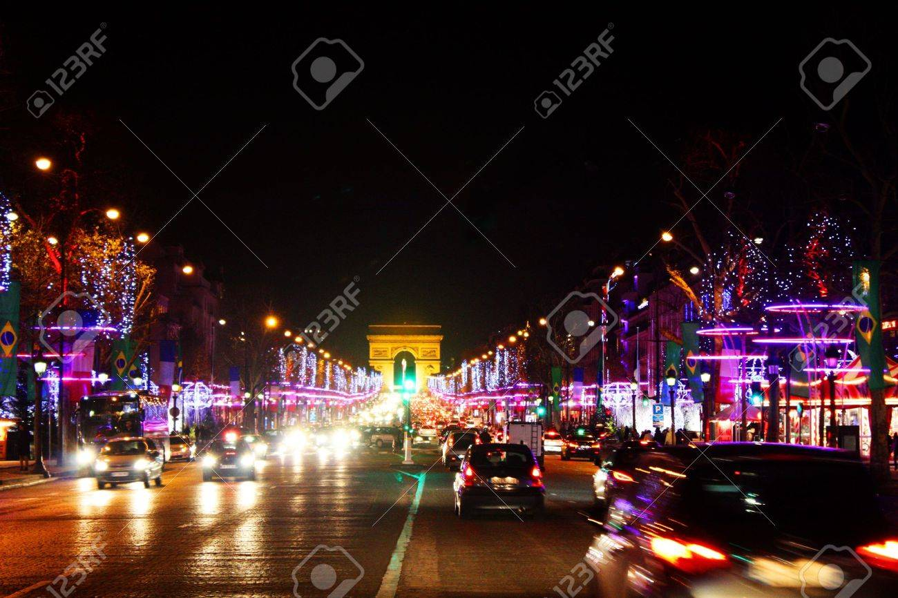 Night Lights Of Parischamps Elysees Stock Photo Picture And