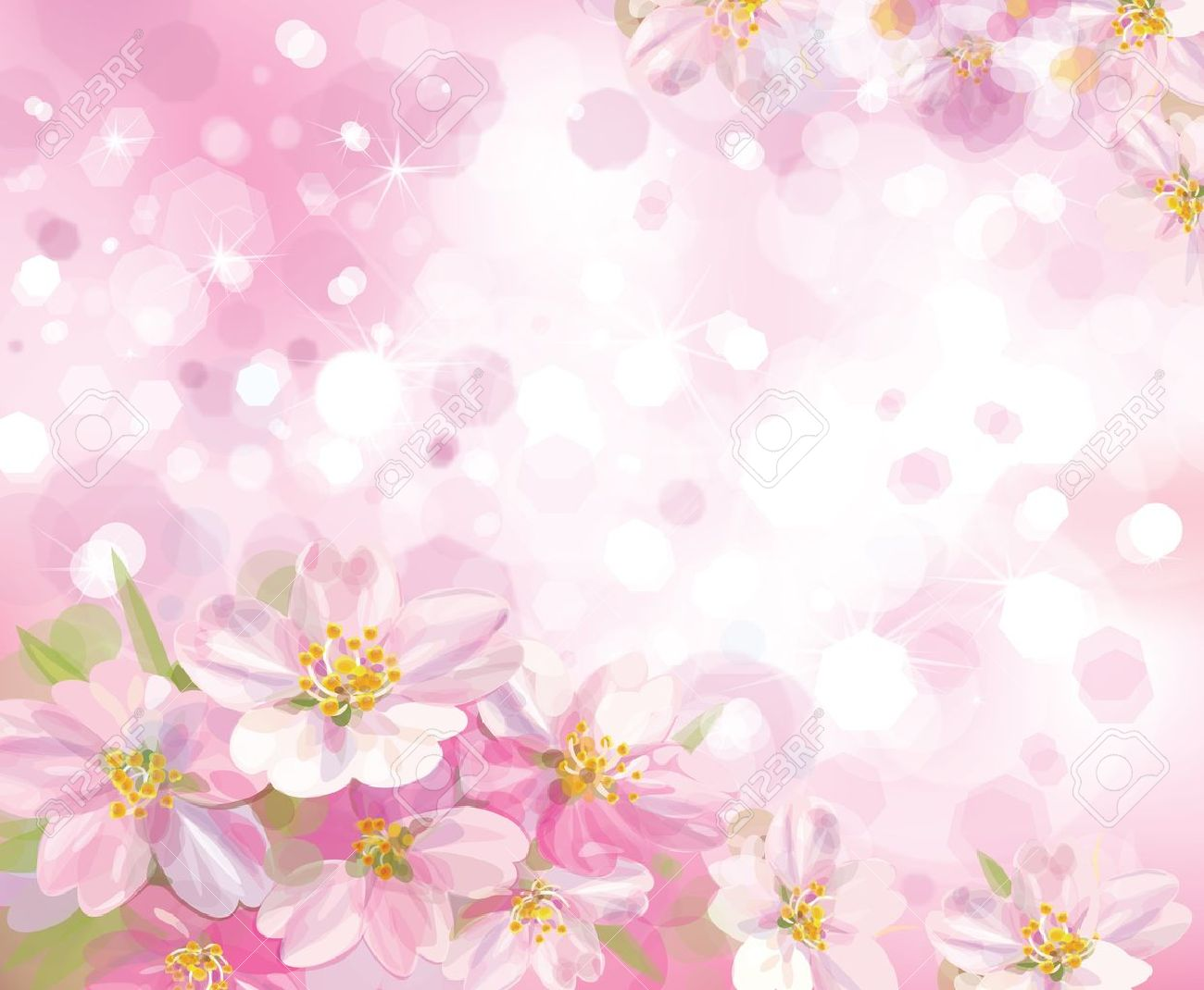 vector of spring blossoming tree with pink background royalty free