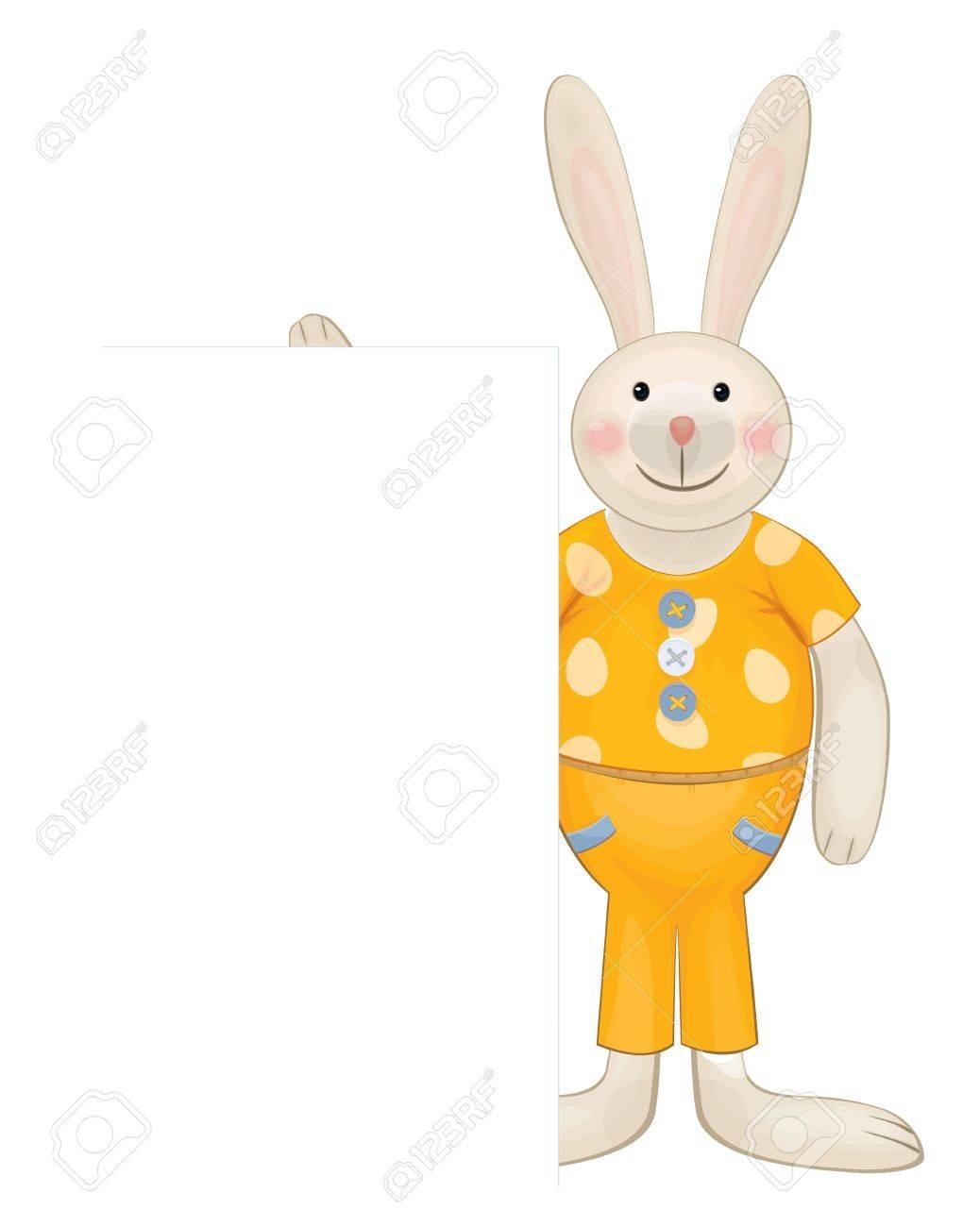 Cute rabbit hiding by blank Stock Vector - 18562906