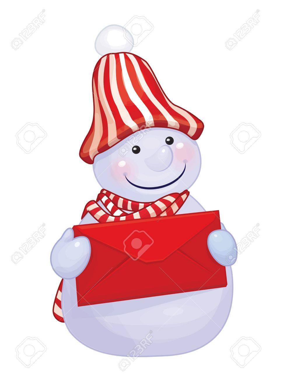 fun snowman holding red envelope isolated Stock Vector - 21013752