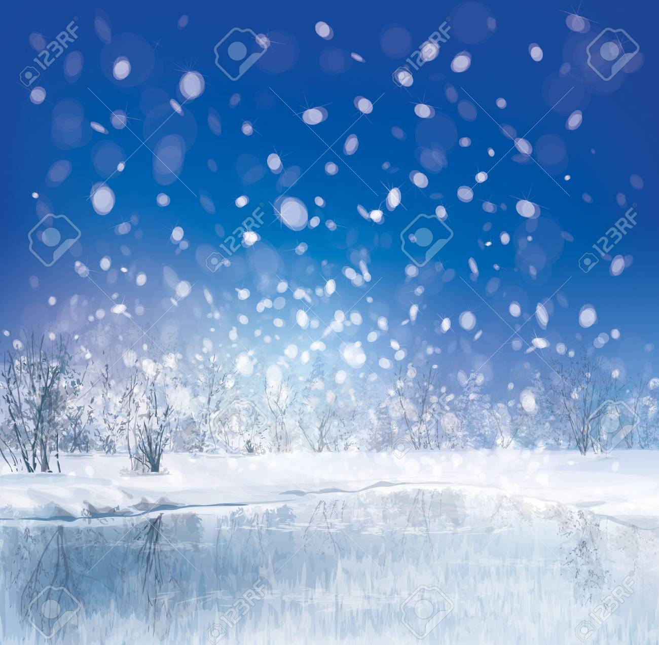 Vector Of Winter Scene With Forest Background Royalty Free Cliparts