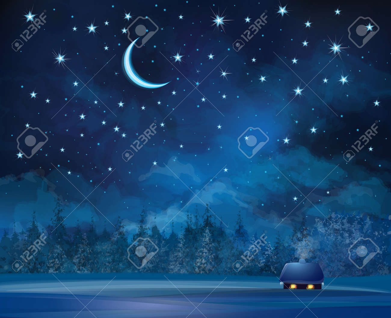 Vector night scene with house on starry sky background and forest. - 28416557