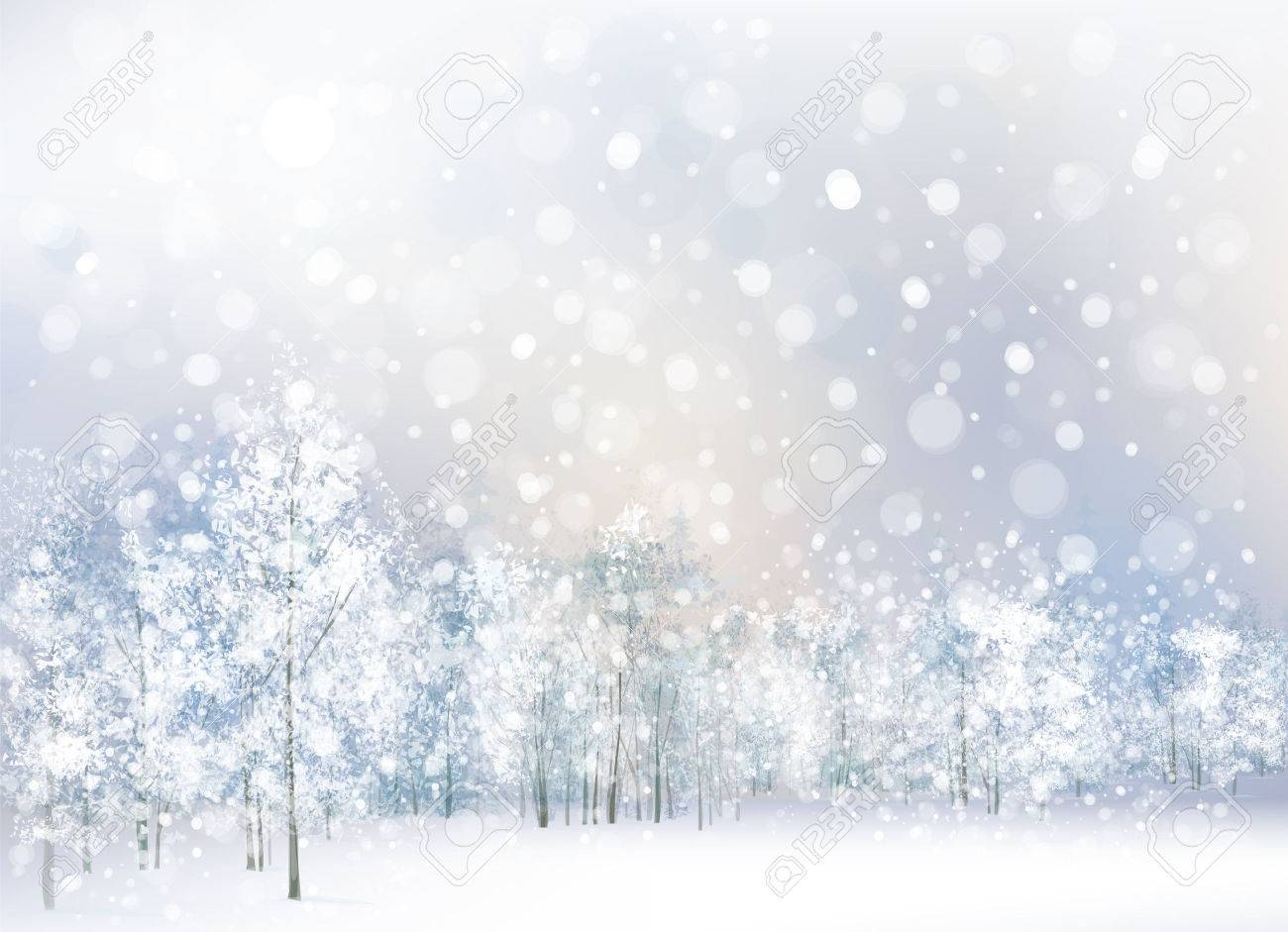Vector of winter scene with forest background. - 29670267