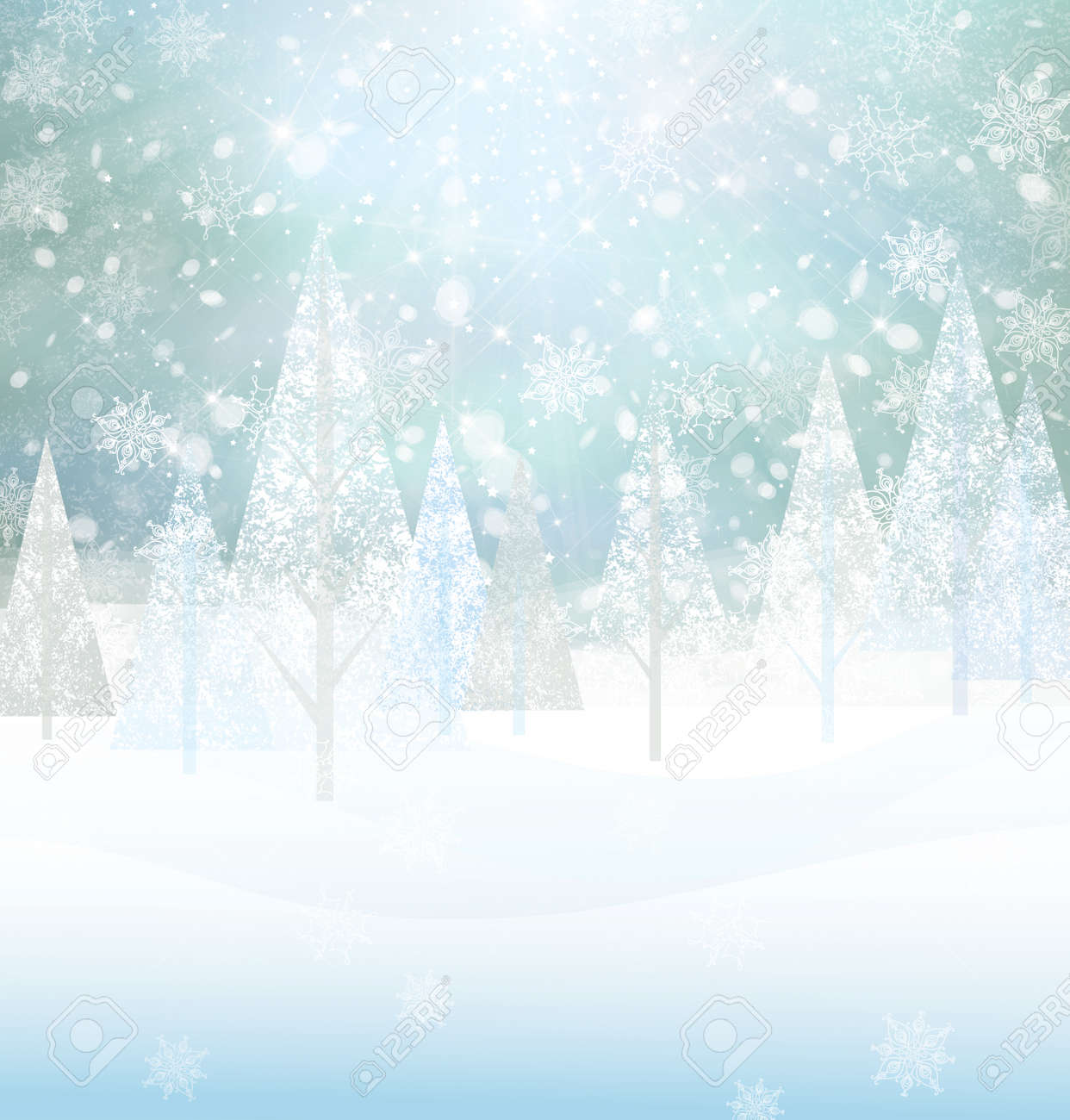 Vector winter snowy background. - 30830384