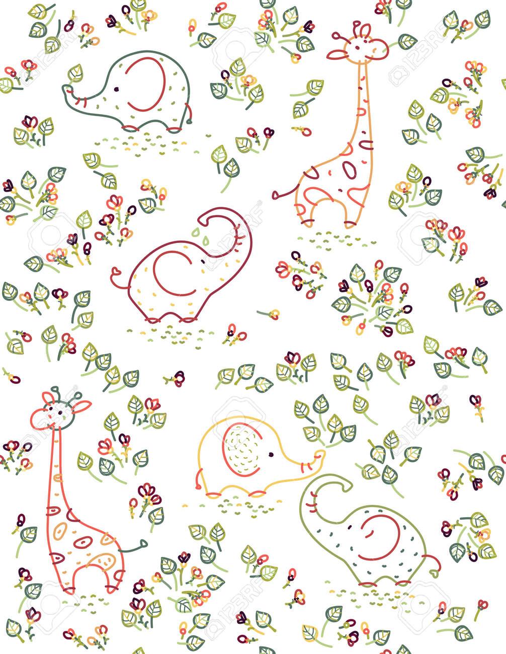 seamless cute animals pattern, elephants, giraffes and flora. - 35098044