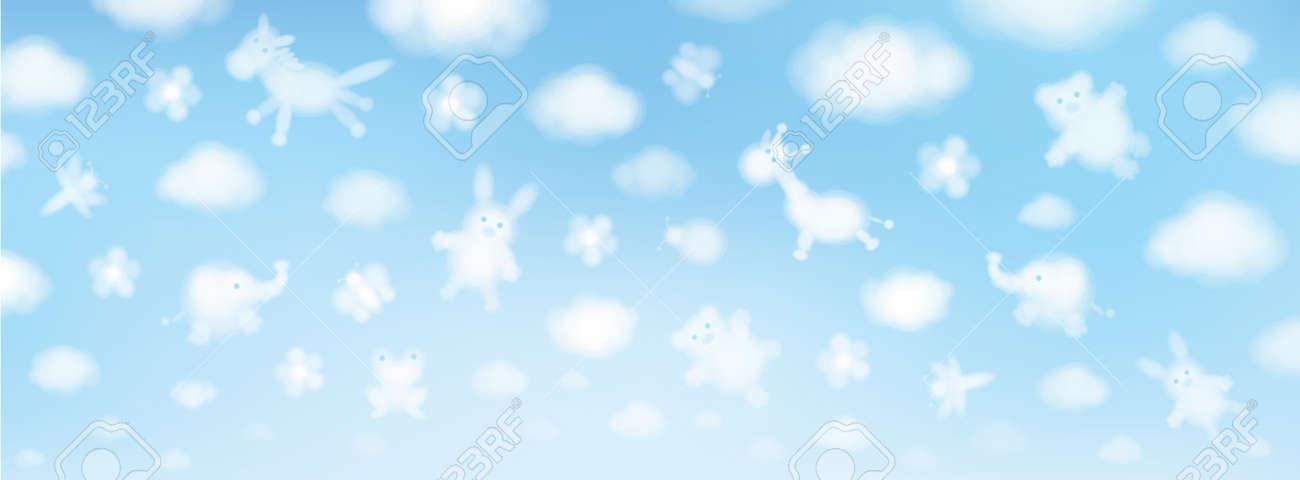 Vector sky background, cute animals cartoons. - 37627389
