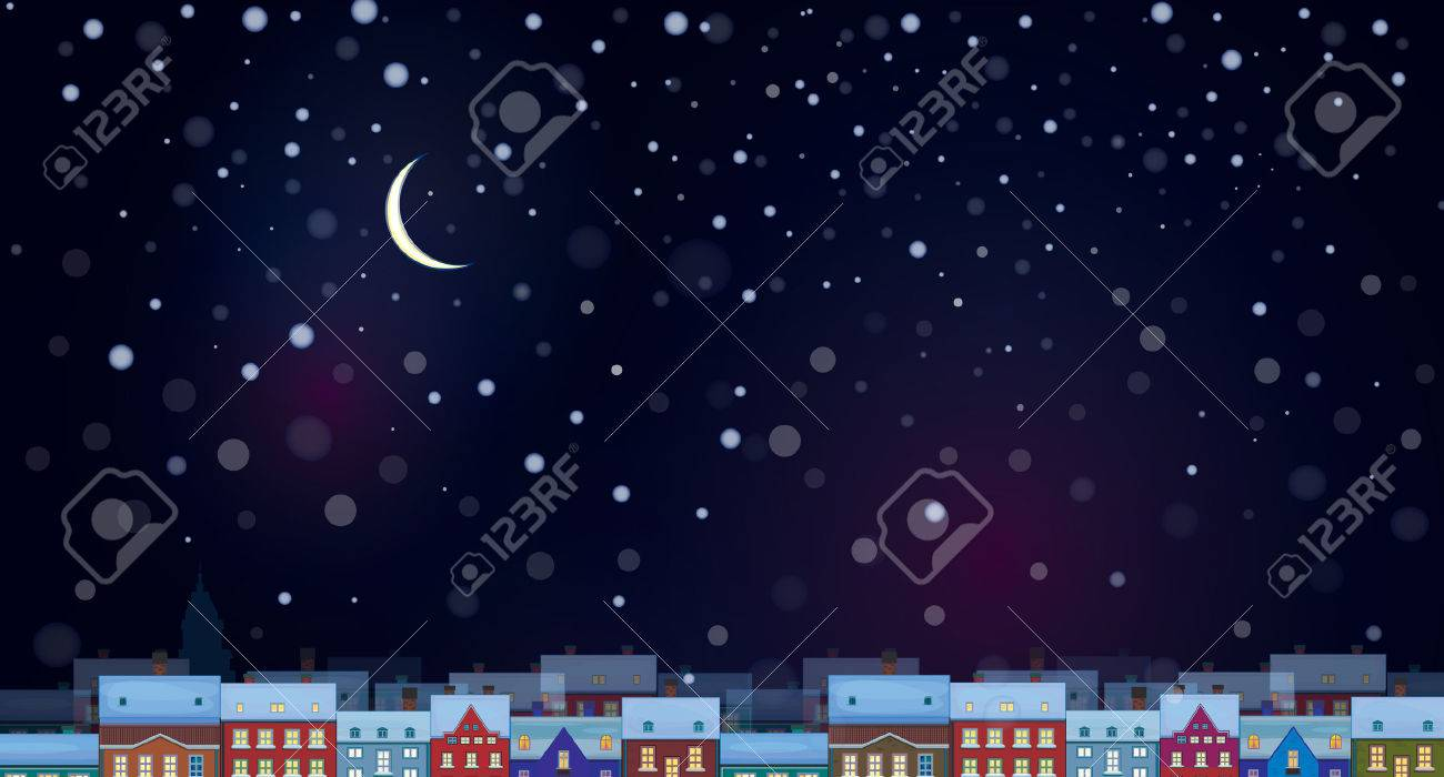 Vector of sky background with cityscape night scene. - 38820880