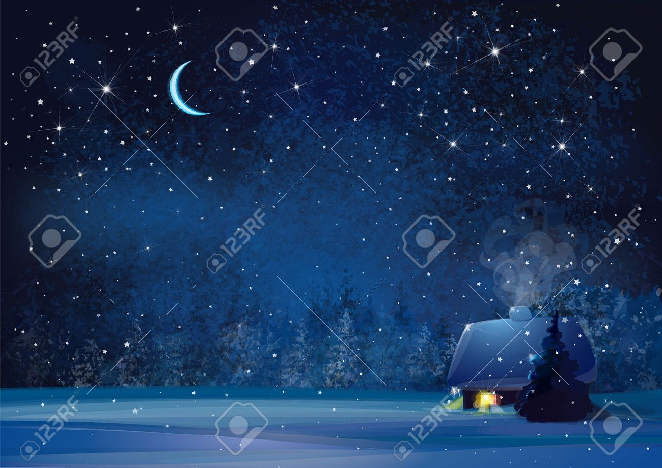 Vector night winter landscape with house and forest background. - 48258630