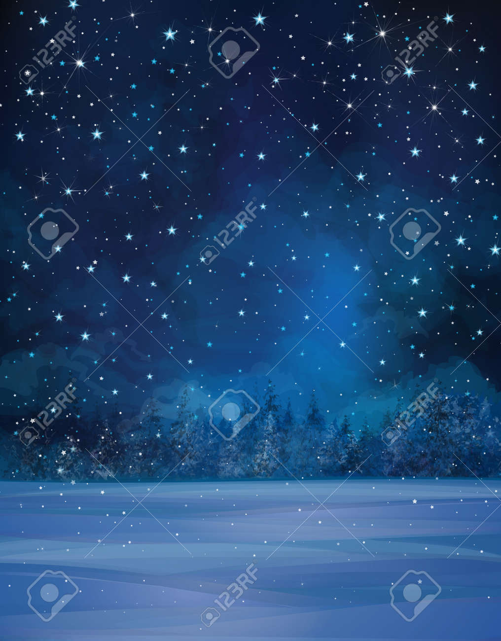 Vector winter night scene, starry sky, snow and forest background. - 49104018