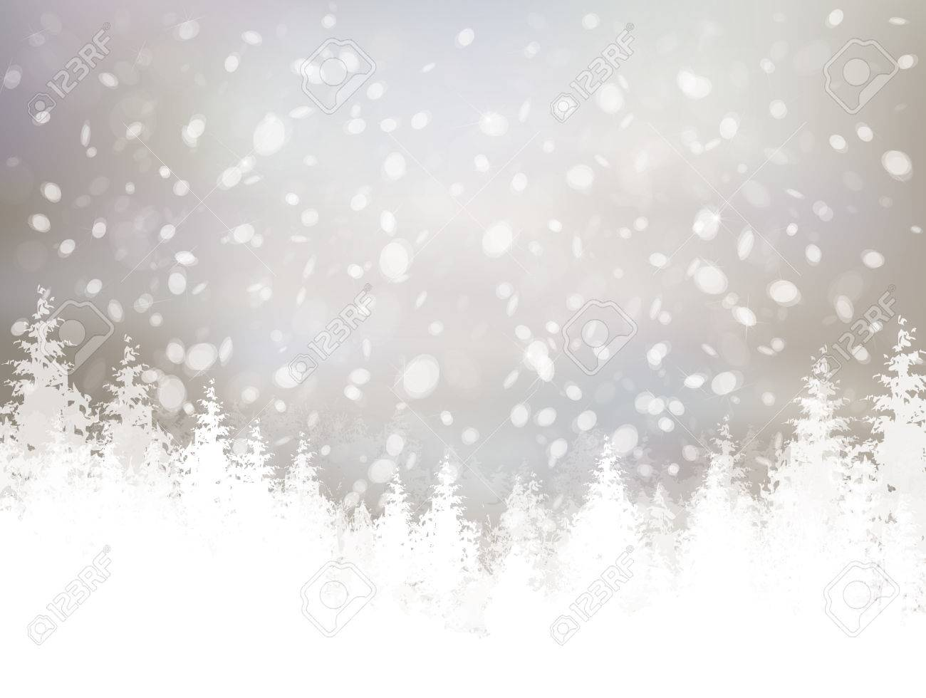 winter scene with snowfall and forest background. - 50145409