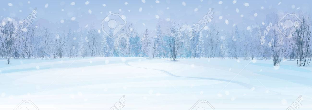 winter landscape with forest background. - 50145411