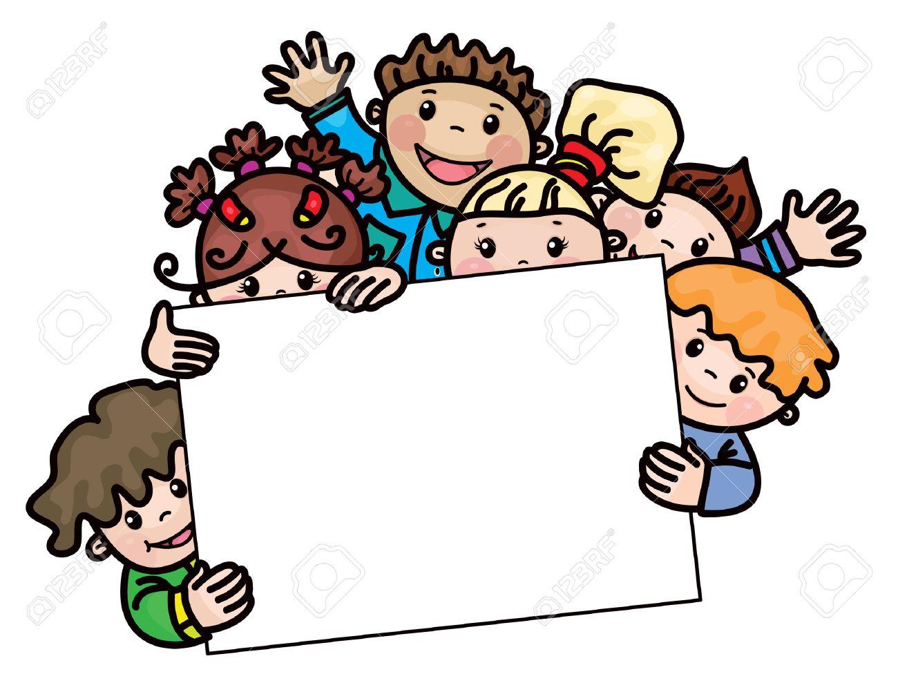 happy kids cartoons frame stock vector 52879098 - Kids Cartoons Free
