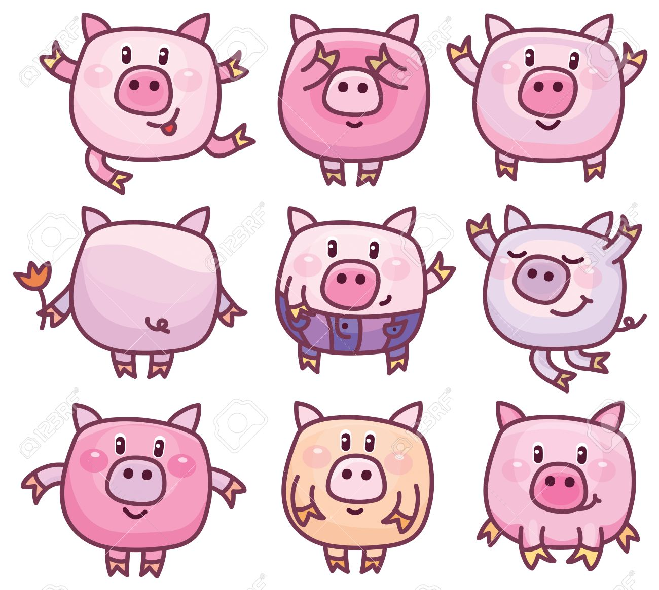 vector cute pigs cartoons isolated royalty free cliparts vectors