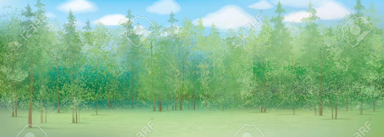 summer landscape with forest background - 59120624