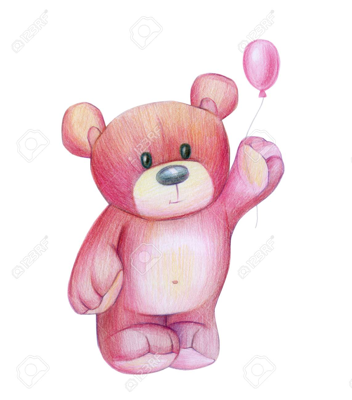 Cute Baby Bear Holding Balloon Isolated Hand Drawing