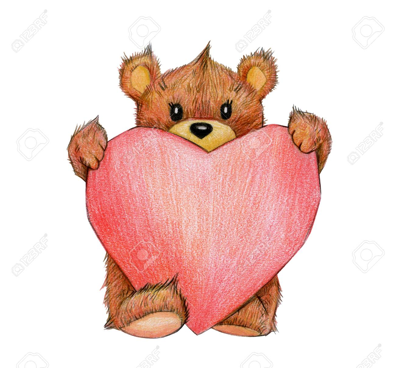 Cute Bear Holding Heart Isolated For Valentine S Day Hand Stock