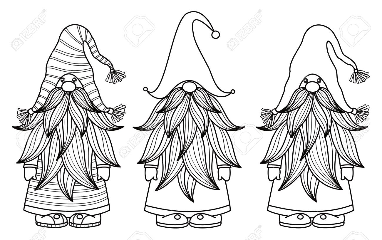 Christmas Gnome Clipart Black And White.Vector Gnomes Cartoons Black Silhouettes Isolated On White