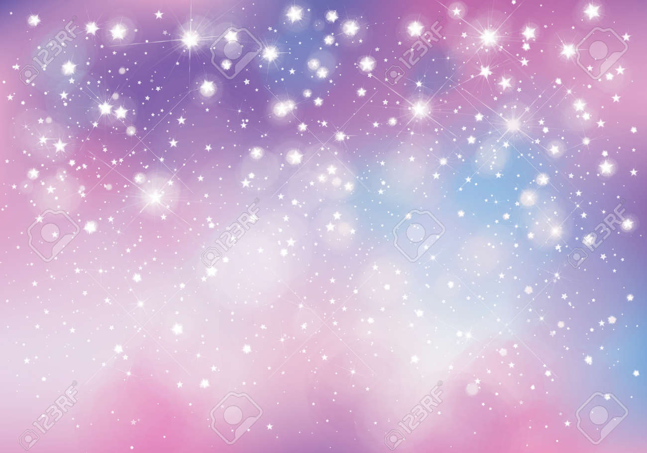 Vector unicorn, sparkling background with lights and stars. - 122613974