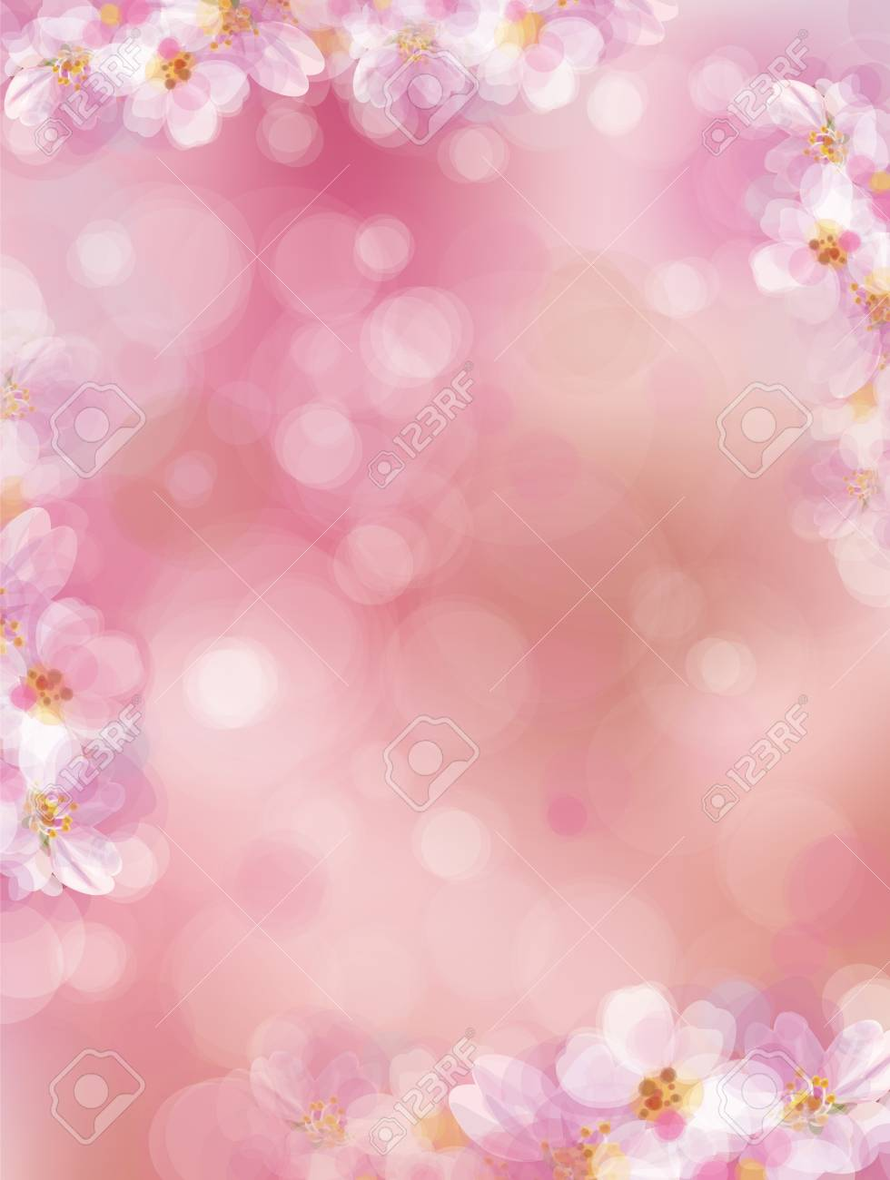 Vector Pink Bokeh Floral Background Blossoming Sakura Tree