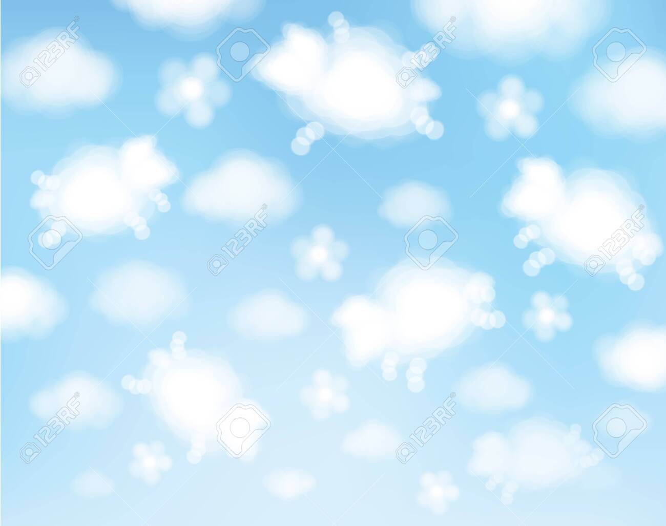 Vector blue sky background. Cute, abstract, sheeps clouds cartoons. - 145688143