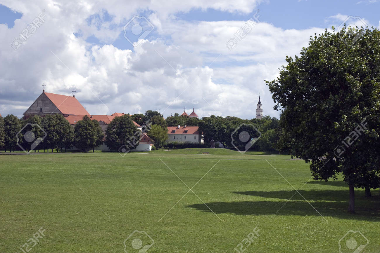Field background in front of church Stock Photo - 14853187