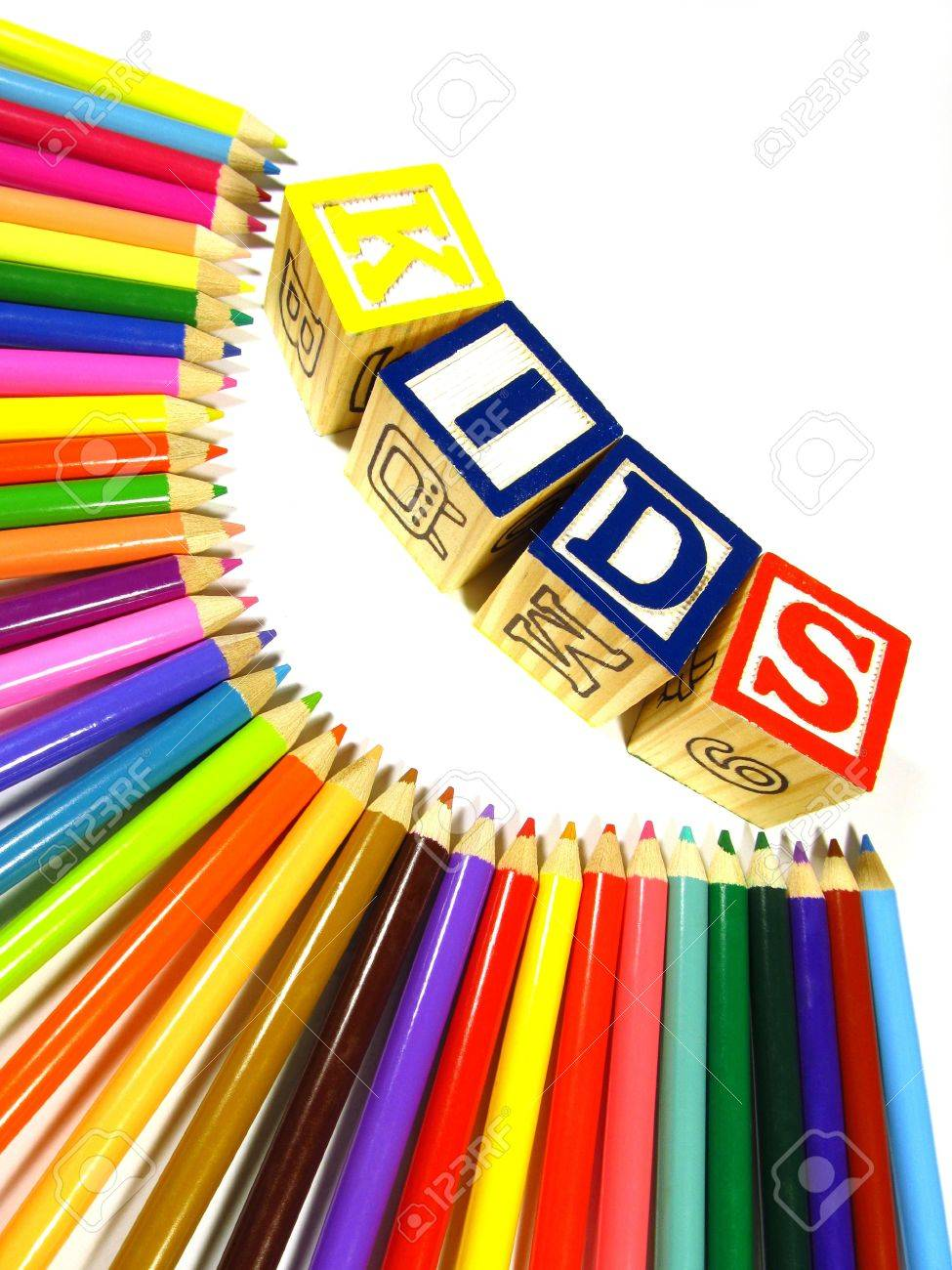 Rainbow of colour pencils with learning blocks making a word kids Stock Photo - 9920591