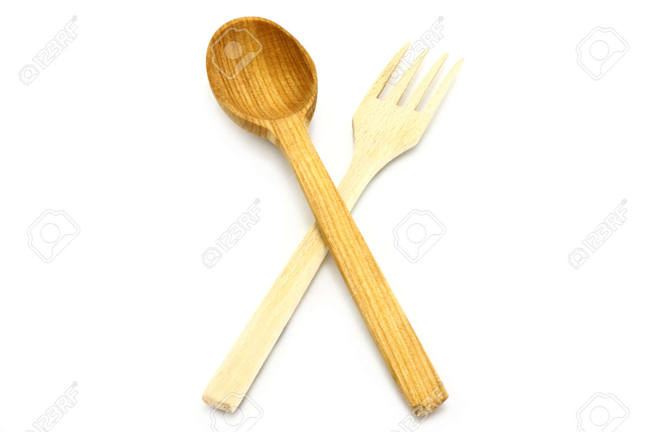 Wooden Kitchen-ware On A White Background Stock Photo, Picture And ...