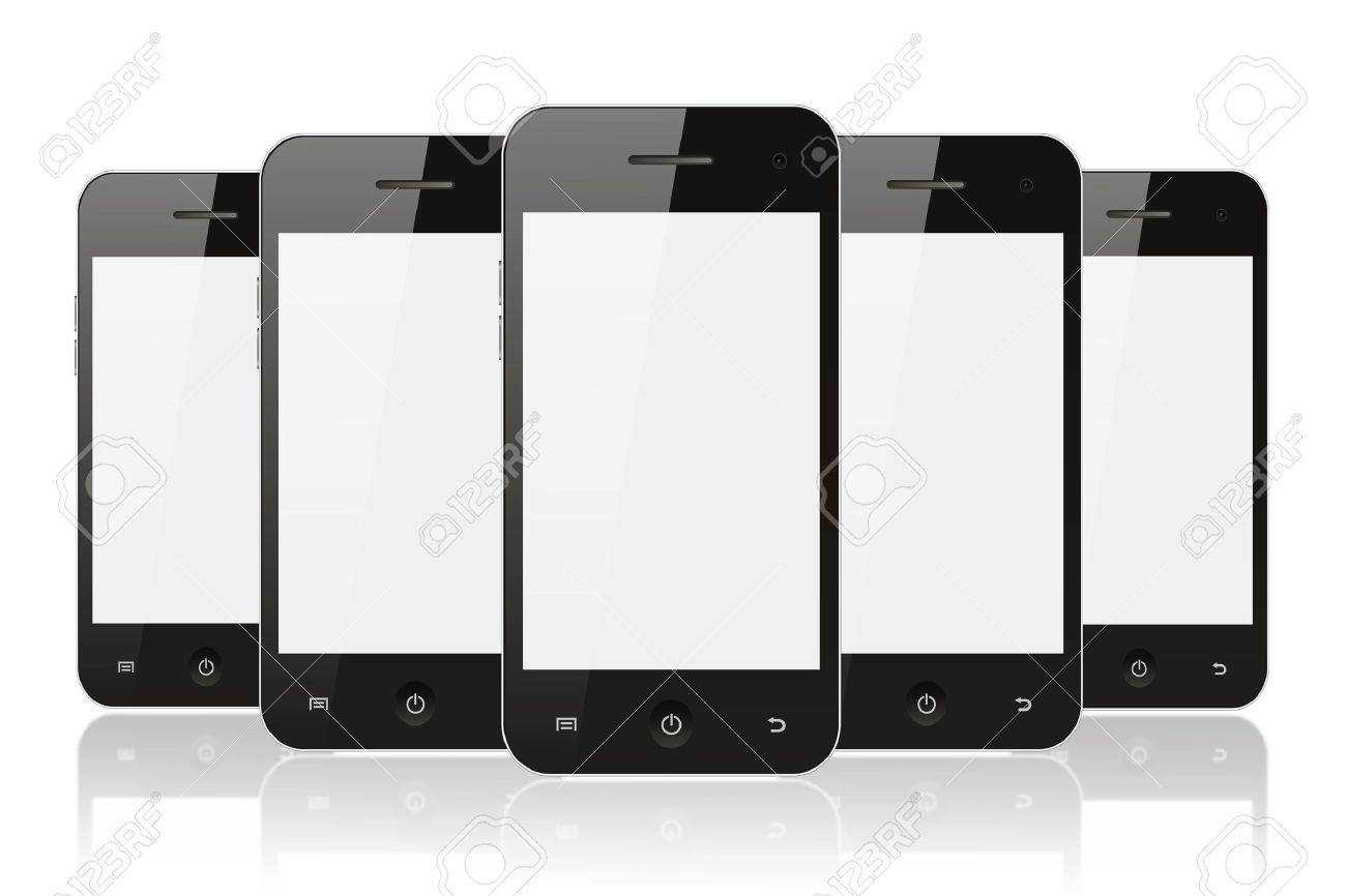 Black smart phones on white background with reflection Stock Photo - 14388325