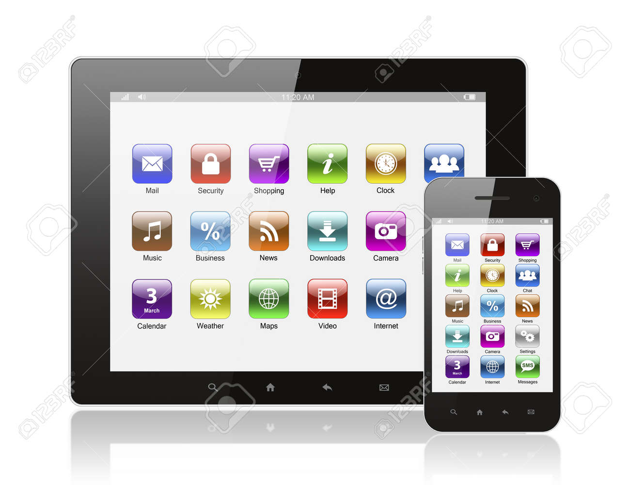 Tablet pc and smart phone with icons on white background Stock Photo - 15700359