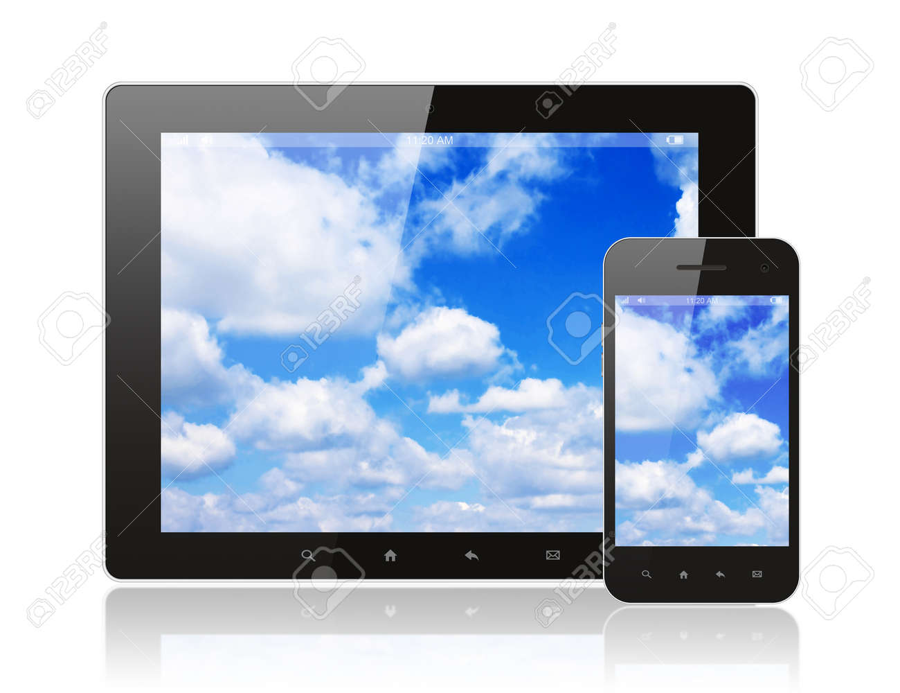 Tablet pc and smart phone with blue sky on white background Stock Photo - 15700360
