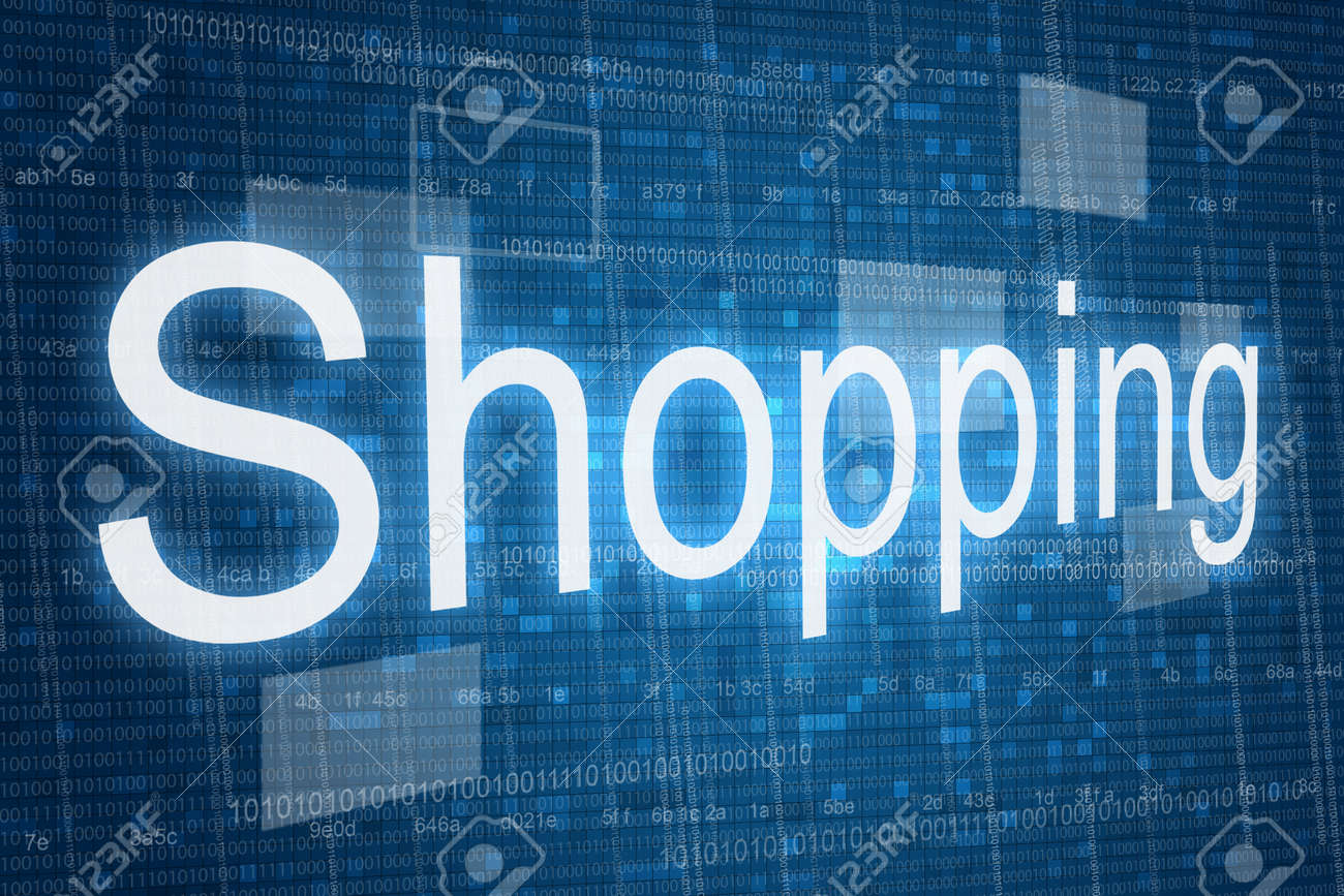 Shopping Word On Digital Background, Online Shopping Consept Stock ...